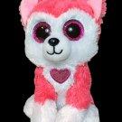 "Ty Beanie Boos Aphrodite Valentine's Day Husky Dog 6"" Plush 2019 Puppy Neon Pink"