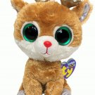 Ty Beanie Boos Alpine Reindeer Gold Antlers Solid Eyes TAGS 6in.Boo Plush