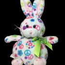 RARE Ganz Peace Bunny Rabbit Plush Stuffed Animal Beanie Colorful Floral Signs