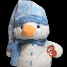 "Ty Pluffies Windchill Snowman Beanbag White Blue Plush Stuffed Tylux Toy TAGS 8"""