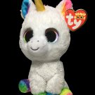 "Ty Beanie Boos Pixy Unicorn White Plush Solid Rainbow Colorful Eyes 6"" TAGS"