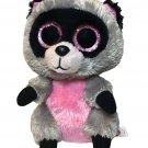 Ty Beanie Boos Rocco Raccoon Plush Stuffed Animal 2014 Pink Sparkle Eyes 6in.
