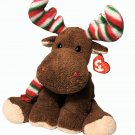 Ty Pluffies Merry Moose 2006 Red-Green-White Holiday Striped Antlers & Scarf TAG