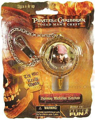 PIRATES OF CARIBBEAN Dead Man's Chest SPINNING MEDALLION KEYCHAIN
