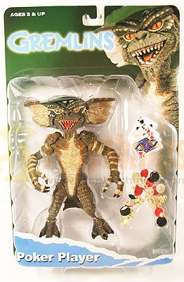 NECA GREMLINS Action Figure Poker Player w/ cards, visor, poker chips, cookies, popcorn