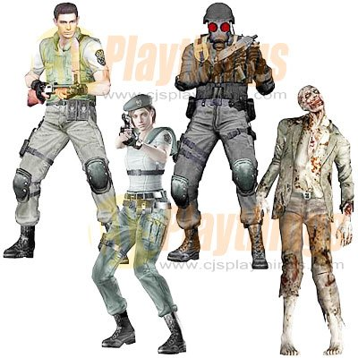 NECA Resident Evil 10th Anniversary set of 4 Chris Redfield Jill Valentine Zombie w/ Dog Hunk