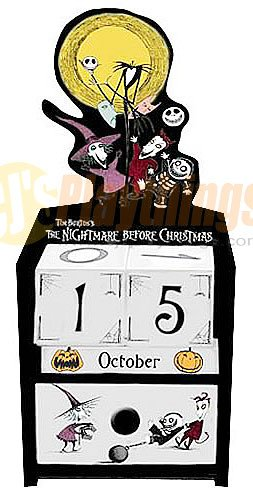 NECA Nightmare Before Christmas Wooden Cube Calendar Jack & Lock Shock Barrel