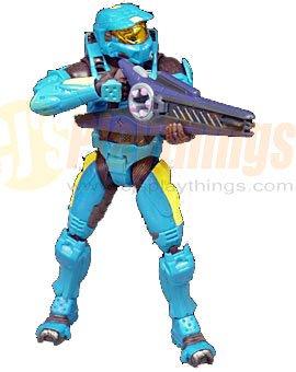 XBOX HALO 2 SERIES 7 CYAN SPARTAN w/ Beam Rifle SMG frag grenade plasma grenade