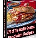 HUGE 379 Sandwich RECIPES  Cookbook Ebook