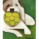 Dog With Ball Dogs Geometric Wall Art Decor Gift Modern Contemporary Animal