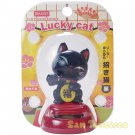 Solar Powered Swinging Daiso Japan - Black Lucky Cat 1.2 x 8.3 in (829426)