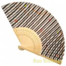 Bamboo Folding Fan Sensu Daiso Japan - Vertical Stripes 1.2 x 8.3 in (835502)