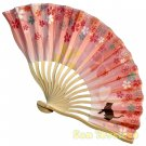 Bamboo Folding Fan Sensu Daiso Japan - Flower Viewing Cat Pink 1.2 x 7.1 in (835434)
