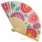 Bamboo Folding Fan Sensu Daiso Japan - Chrysanthemum White 1.2 x 8.3 in (835472)