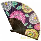 Bamboo Folding Fan Sensu Daiso Japan - Chrysanthemum Black 1.2 x 8.3 in (835472)