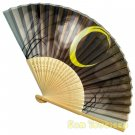 Bamboo Folding Fan Sensu Daiso Japan - Moonlit Night Black 1.2 x 9.1 in (835632)