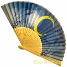 Bamboo Folding Fan Sensu Daiso Japan - Moonlit Night Blue 1.2 x 9.1 in (835632)