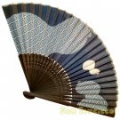 Bamboo Folding Fan Sensu Daiso Japan - Gourd Blue 1.2 x 9.1 in (835540)