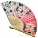 Bamboo Folding Fan Sensu Daiso Japan - Chinese Bellflower Pink 1.2 x 8.3 in (835489)