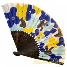 Bamboo Folding Fan Sensu Daiso Japan - Floral Pattern Blue 1.2 x 8.3 in (835496)