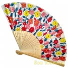 Bamboo Folding Fan Sensu Daiso Japan - Floral Pattern Red 1.2 x 8.3 in (835496)
