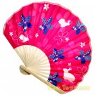 Bamboo Folding Fan Sensu Daiso Japan - Cherry Blossom Rabbit Pink 1.2 x 8.3 in (835441)