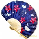 Bamboo Folding Fan Sensu Daiso Japan - Cherry Blossom Rabbit Navy 1.2 x 8.3 in (835441)