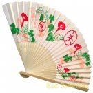 Bamboo Folding Fan Sensu Daiso Japan - Antique Design Morning Glory Beige 1.2 x 8.3 in (835557)
