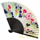 Bamboo Folding Fan Sensu Daiso Japan - Antique Design Morning Glory White 1.2 x 8.3 in (835557)