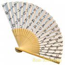 Bamboo Folding Fan Sensu Daiso Japan - Iroha Song White 1.2 x 8.3 in (835656)
