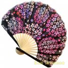 Bamboo Folding Fan Sensu Daiso Japan - Cherry Blossom Ball Black 1.2 x 8.3 in (835458)