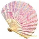 Bamboo Folding Fan Sensu Daiso Japan - Cherry Blossom Ball White 1.2 x 8.3 in (835458)