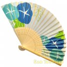 Bamboo Folding Fan Sensu Daiso Japan - Morning Glory Blue 1.2 x 8.3 in (835564)