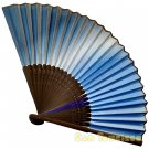 Bamboo Folding Fan Sensu Daiso Japan - Chic Gradation Color Blue 1.2 x 9.1 in (835526)