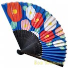 Bamboo Folding Fan Sensu Daiso Japan - Camelia Blue 1.2 x 8.3 in (835410)