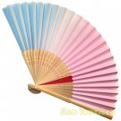 Bamboo Folding Fan Sensu Daiso Japan - Pastel Gradation Color Pink 1.2 x 8.3 in (835519)