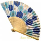 Bamboo Folding Fan Sensu Daiso Japan - Plum Blossom Blue 1.2 x 8.3 in (835465)
