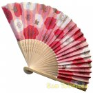 Bamboo Folding Fan Sensu Daiso Japan - Plum Blossom Pink 1.2 x 8.3 in (835465)