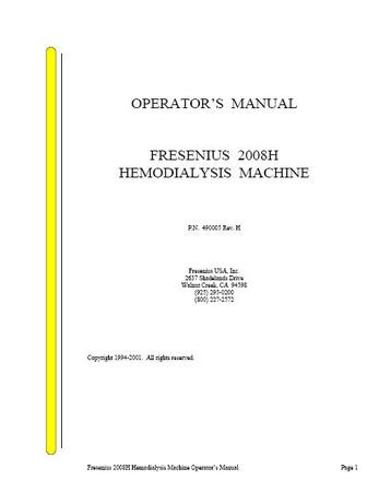 Fresenius 2008H Hemodialysis Dialysis Operation Manual