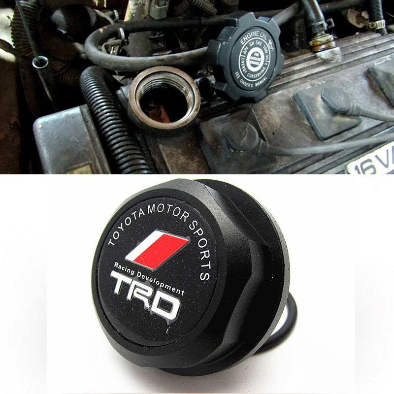 Black TRD Toyota Racing Development Engine Oil Filter Valve Cover Gasket Cap Aluminum 12180-0H012