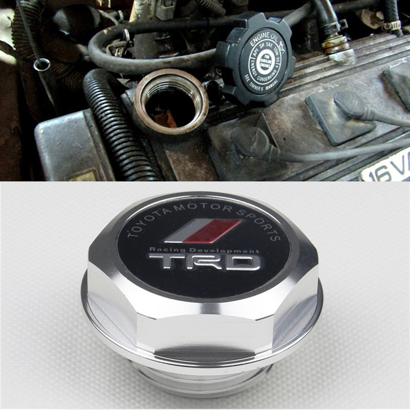 Silver TRD Toyota Racing Development Engine Oil Filter Valve Cover Gasket Cap Aluminum 121800H011