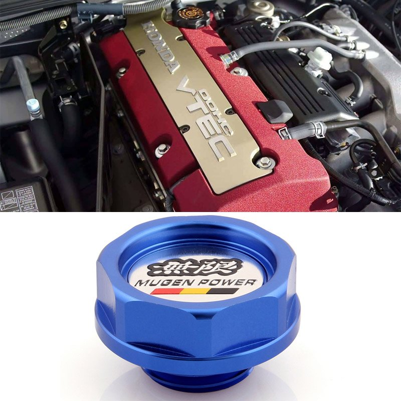 Blue Mugen Acura Honda Engine Oil Filter Valve Cover Gasket Cap Aluminum 15610PCXA01