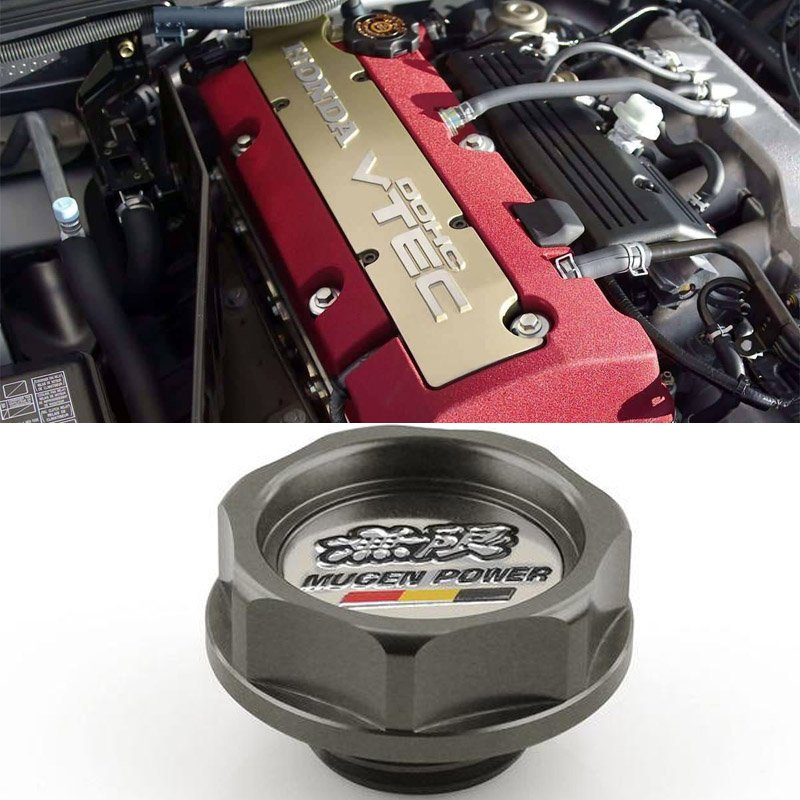 Gray Grey Mugen Acura Honda Engine Oil Filter Valve Cover Gasket Cap Aluminum 15610PCXA01