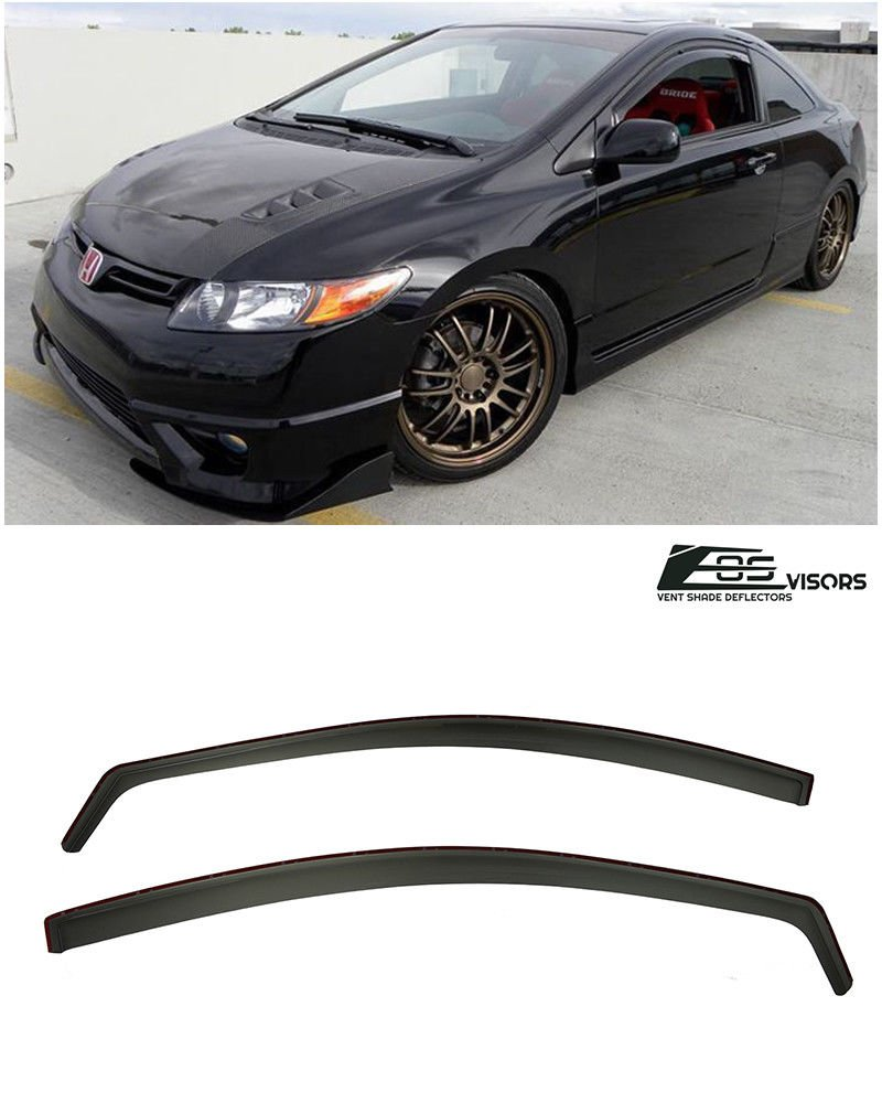 For 06-11 Honda Civic Coupe In-Channel Side Window Visors Guards Si OE 2DR JDM