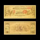 1875 Gold Banknotes 5$ US Money Currency Paper in 24k Gold Plated 99999 Banknote For Collections