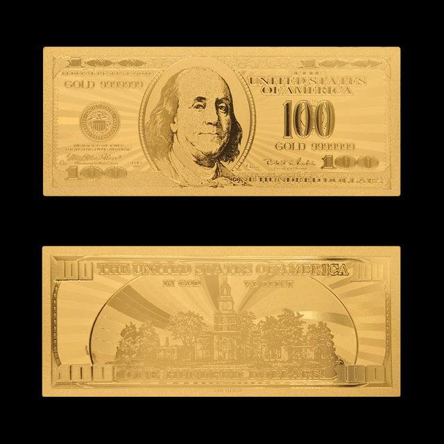 US Gold Foil Banknotes Fake Money 100 Dollar Gold Banknote For Collections