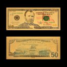 US Gold 999 US Dollar Money 50 Dollar Banknote For Collections