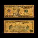 US Gold Banknotes 10 Dollar Money In 24K Gold Plated Banknote For Collections