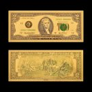 US Gold 999 24K Gold Banknote 2 Dollar Currency Paper Gold Plated Banknote For Collections