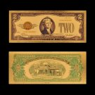 24K Gold Banknote US 2 Dollar Money Replica Currency Paper Money Banknote For Collections